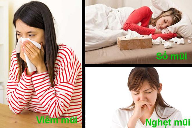 Có rất nhiều triệu chứng gây viêm mũi họng cấp